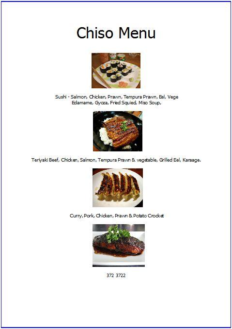 chiso menu