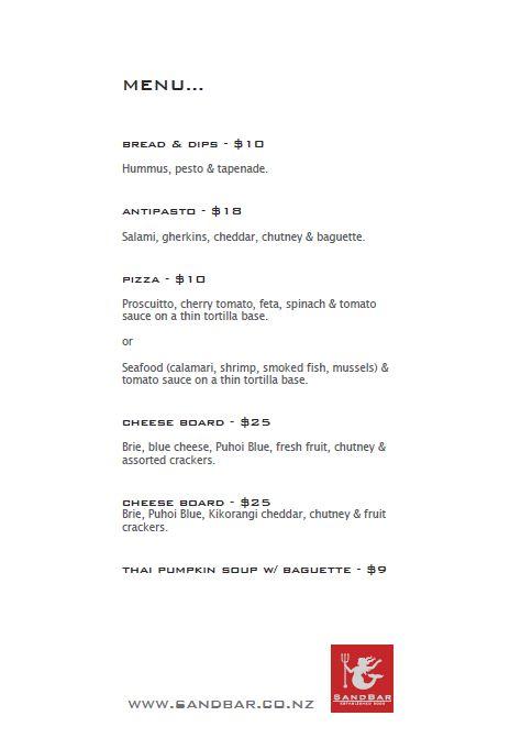 sandbar menu