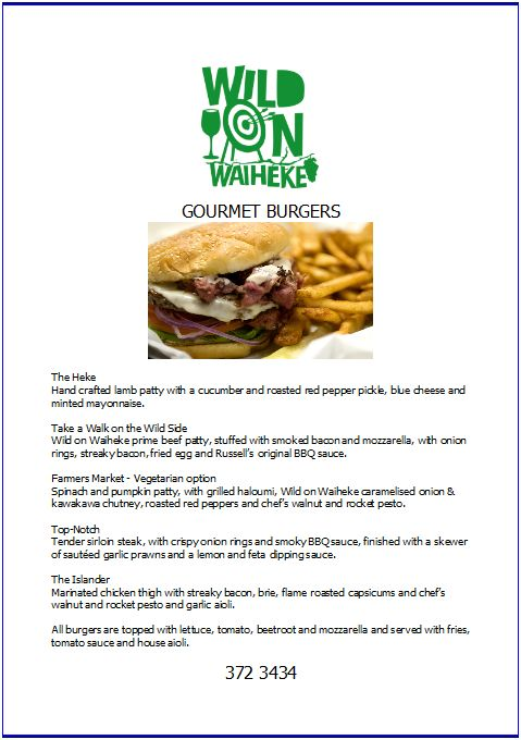 wild on waiheke burger menu