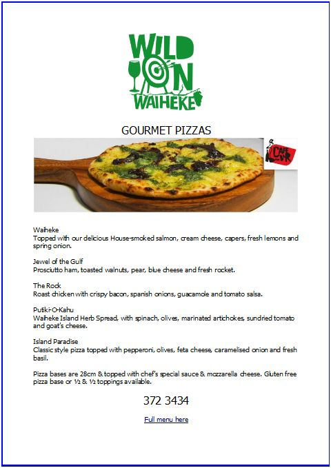 wild on waiheke pizza menu